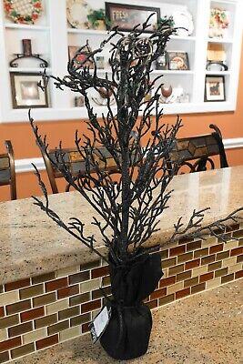 "New POTTERY BARN Halloween BLACK GLITTER BRANCH TREE  - 27"" Tall"