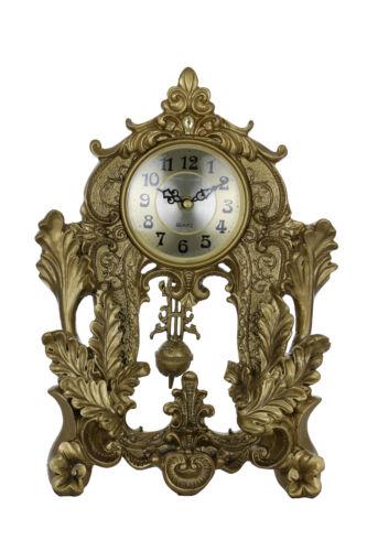 Baroque Style Ornate Mantle Clock with Swinging Pendulum