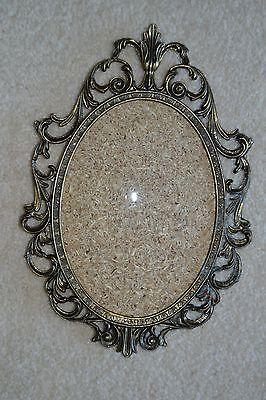 1- Vintage Italy 5x7 Antique Brass Cast Metal Convex Bubble Glass Picture Frame