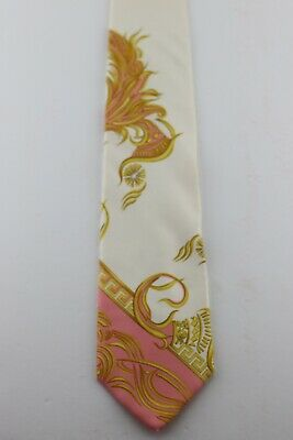Gianni Versace Floral/Greek Key White,Pink,Gold 59 x 3/3 4 Silk Tie  Vg