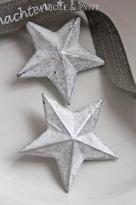 (1,10€/St)  2 geweißte Zinksterne Blechsterne 5cm ★ Sterne weiß Stern Zink