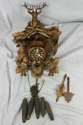 Black Forest Carved Wooden Hunters Cuckoo Clock w/ Deer Guns Acorns