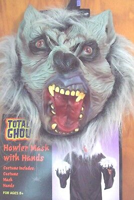 WOLFMAN HOWLER Halloween Costume NEW 8+ Mask Hands Full Body Totally Ghoul Teeth