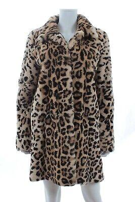 Yves salomon meteo imprimé léopard rex lapin fourrure manteau / marron léopard