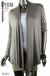 New Women's Long Sleeves Draped Irregular Hem Front Open Cardigan/USA, Ever77