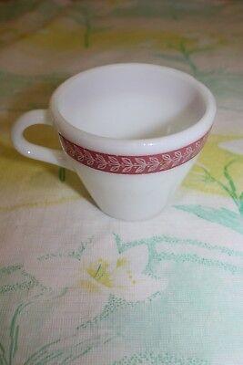 Pyrex Corning White Maroon Leaf Coffee Mug 721-17 Made in USA