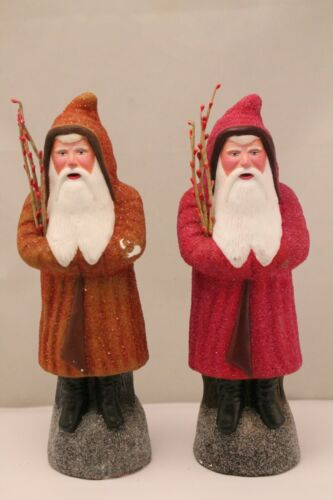 Vintage Pair of German  D. Blumchen Christmas Artisan Belsnickle Santa