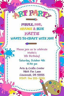 Paint Party Invitations (Paint Art Craft Birthday Party Invitation - Any Colors)