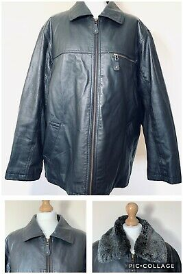 Leather Jacket Vintage Retro 16 Oversized Womens 90s Zip Black Changeable collar