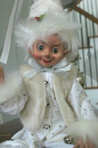"Elf Raz Elf Christmas Shelf Sitter Poseable 20"" White Fur Jester Elf B New"