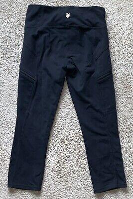 Athleta Drifter Capri Pants XS Legging Yoga Run Fitness Zip Pockets Black