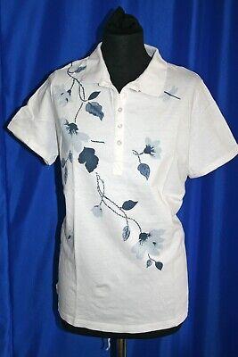 Damen Kleidung Polo Shirt bpc selection 100umwolle Kurzarm Weiß Gr. 40 -42