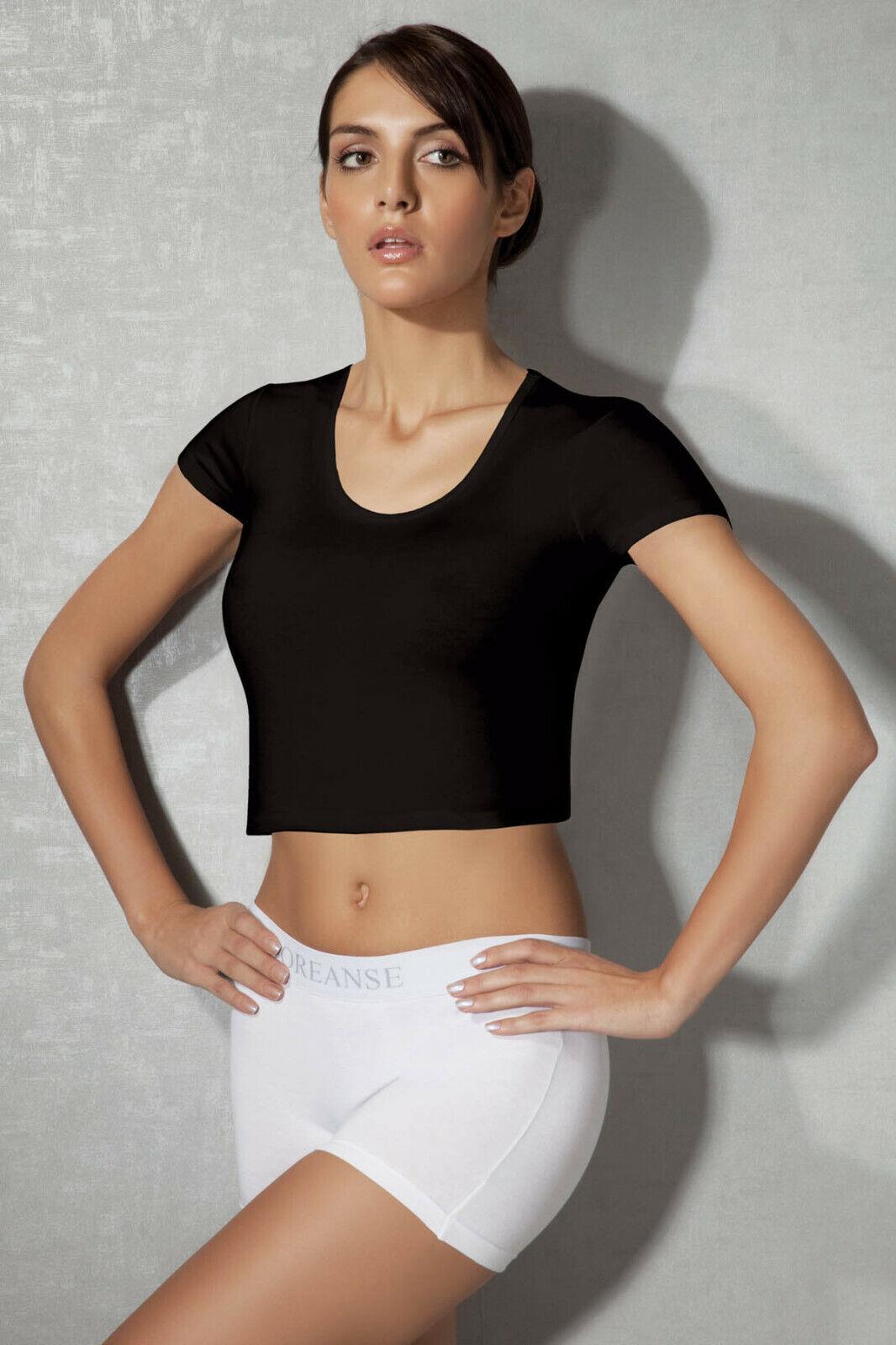 Crop Top Cropped Top Damen Bauchfrei Shortsleeve T-Shirt  von Doreanse Underwear