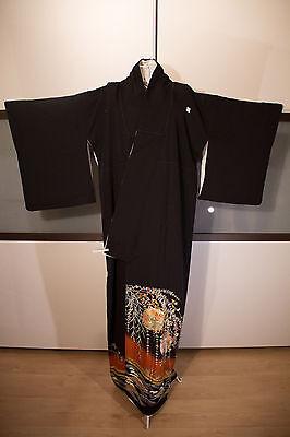 Antiker japanischer Kimono (Tomesode) aus Seide, Herbstmotive
