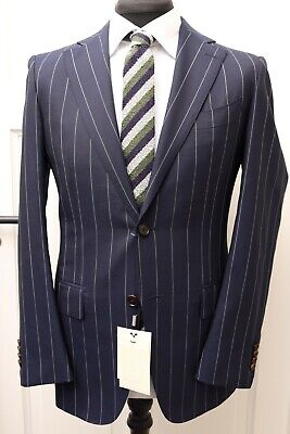 NWT Suitsupply La Spalla Navy Pinstripe 100% Wool Super 140s Suit - Size 38R Mens Navy Pinstripe Wool Suit