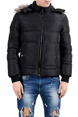 Versace Collection Men's Coyote Fur Down Black Full Zip Hooded Parka Jacket
