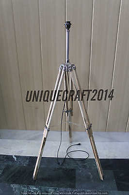 ANTIQUE VINTAGE MARINE LAMP'S SHADE TEAK WOODEN TRIPOD DECOR ITEM.