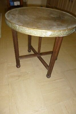 brass top table with folding base - vintage, indian style