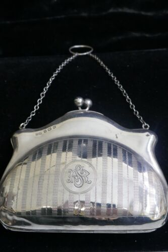 1818 English Sterling Silver Purse With Leather Lining