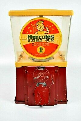 Vintage Hercules Gumball Bubble Gum Machine 1 Cent Vending Red Yellow