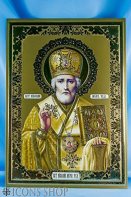 Saint Nicholas Nicola Nikola Nikolaos Greek Orthodox Icon Святой Николай 17х24cm