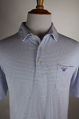 Peter Millar Polo Golf Shirt Mens Size Large Blue White