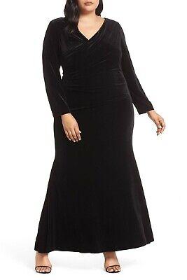 Black Stretch Velvet Bodice (NEW VINCE CAMUTO Black Velvet V-Neck Wrap Bodice Ruched Chic Bodycon Gown 16W 1X )