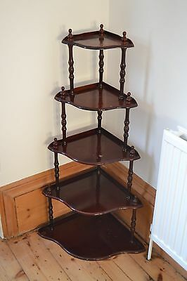 STAINED TIMBER TIERED CORNER STAND SHELVING DISPLAY UNIT MAHOGANY