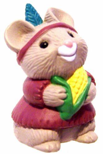 "Hallmark Merry Miniatures Indian Maiden Mouse Corn Cob 1991 1"" Thanksgiving NEW"