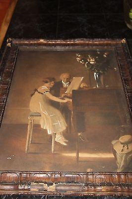 """Vintage The First Piano Lesson FRAMED Print by Jules A. Muenier 20"""" x 17"""""""