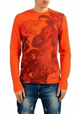 Versace Jeans Men's Orange Graphic Long Sleeve T-Shirt US M IT 50