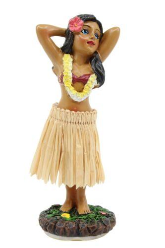 """Hawaiian Hula Lady Posing Dashboard Doll - Natural Color Skirt, 4"""" Doll for Car"""