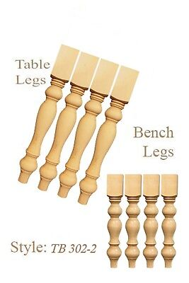 ( 2 Sets of Unfinished Handmade Pine Wood Turned dining Table/Bench Legs)