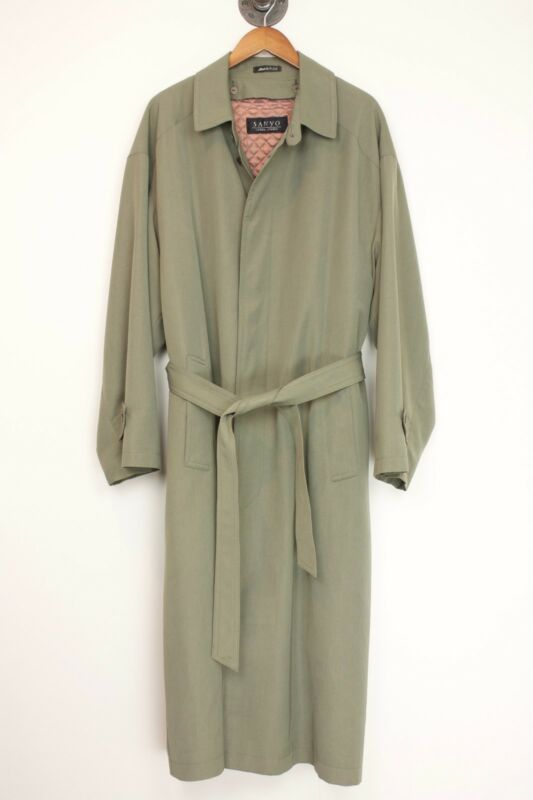Sanyo Carol Cohen Mens Trench Coat 40R Olive Green