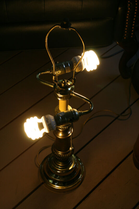 Vintage Dual Light Table Lamp Brass Electric Chain Pull No Shade Iss# BG 58, 080