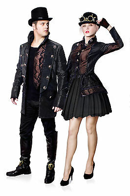 Steampunk Kostüm Gothic Herren Jacke Hochwertige Karneval Fasching - Herren Gothic Kostüm