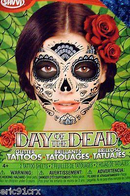 Day of the Dead Dia De Los Muertos Face TATTOO Mask Sugar Skull Black Glitter