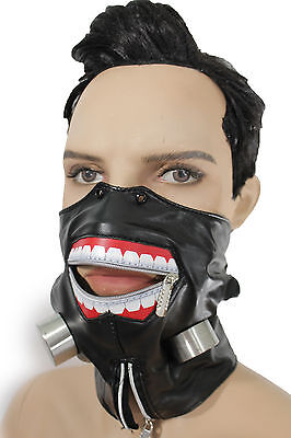 New Men Biohazard Face Mask Mouth Muzzle Costume Black Halloween Zipper - Halloween Zipper Face Mask