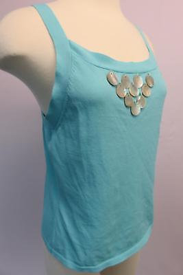 - PINK POODLE womens turquoise tank tops strap square neck embellished shell med