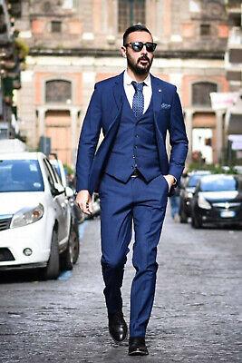 Hombre Azul Traje de Diseño Boda Novios Cena Informal (Chaqueta + Camiseta...