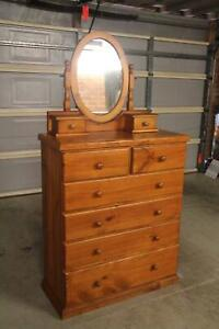 VGC solid 6 drawers tallboy&mirror can deliver
