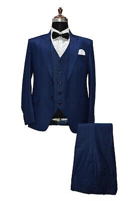 Hombre Azul Trajes de Diseño Boda Novios Cena (Chaqueta +Camiseta+ Pantalones