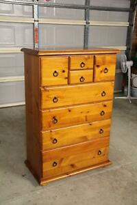 VGC solid timber 8 drawers tallboy metal runner can deliver