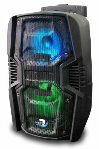 """Dolphin SP-26RBT Rechargeable Dual 6.5"""" Bluetooth Party Speaker W/Woofer Lights"""