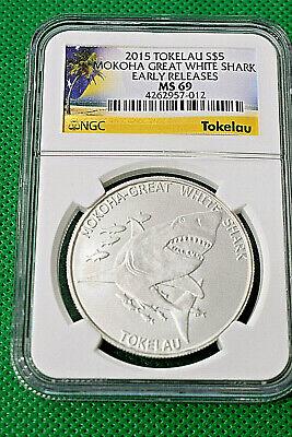 2015 NGC MS69 $5 Tokelau Mokoha Great White Shark 1 oz .999 fine silver coin