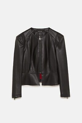 ZARA Basic Faux Leather Jacket With Shoulder Pads