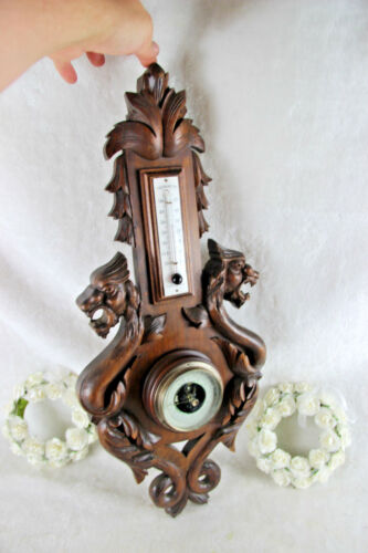 Black forest wood carved Dragon chimaera barometer
