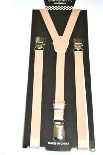 "New Punk Skinny Beige Leather Vintage Suspenders Super Narrow 1/2 """