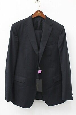Z Zegna Navy Blue Wool Solferino 2 Pc 2-Button Suits Size 52 R MSRP $1495