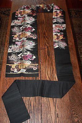 Japanese Nagoya Obi Sash Belt Robe Embroidered Black Kimono Vintage